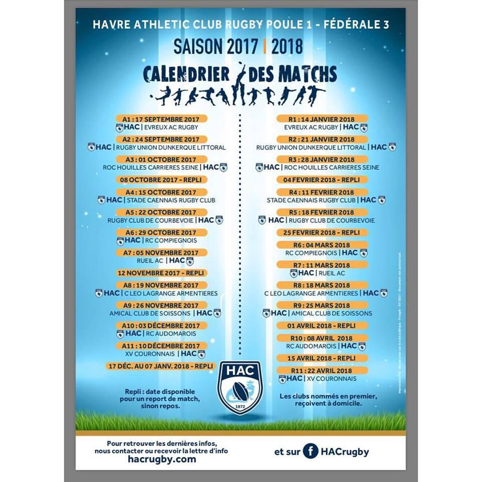 Calendrier Hac.Retrouvez Le Calendrier Officiel Du Hac Rugby 2017 2018